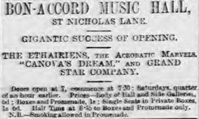 An Advertisement for the Bon-Accord Music Hall, Aberdeen - From the Aberdeen Evening Express, Wednesday the 22nd of August 1888.