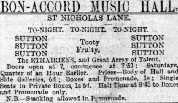 An Advertisement for the Bon-Accord Music Hall, Aberdeen - From the Aberdeen Free Press - Monday the 27th of August 1888.