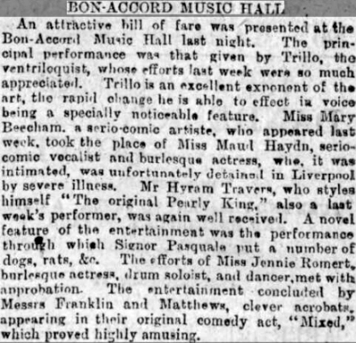 A Review of an evening's entertainment at the Bon-Accord Music Hall, Aberdeen - From the Aberdeen Free Press, Tuesday the 25th of September 1888.