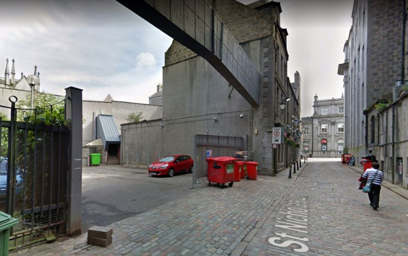A Google StreetView Image of the site of the former Bon-Accord Music Hall, St. Nicholas Lane, Aberdeen - Click to Interact. The Music Hall, which was situated next door to the Prince of Wales Public House, was closed in 1891, although the building itself wasn't demolished until 1993.