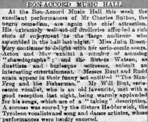 A Review of Charles Sutton at the Bon-Accord Music Hall, Aberdeen - From the Aberdeen Free Press, Tuesday the 4th of September 1888.