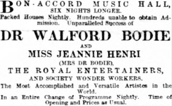 One of the last advertisements to appear in the press for the Bon-Accord Music Hall - From the Aberdeen Press and Journal, Wednesday the 7th of January 1891.