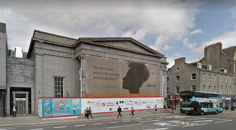 A Google StreetView Image of the Aberdeen Music Hall whilst undergoing refurbishment in 2017/18 - Click to Interact.