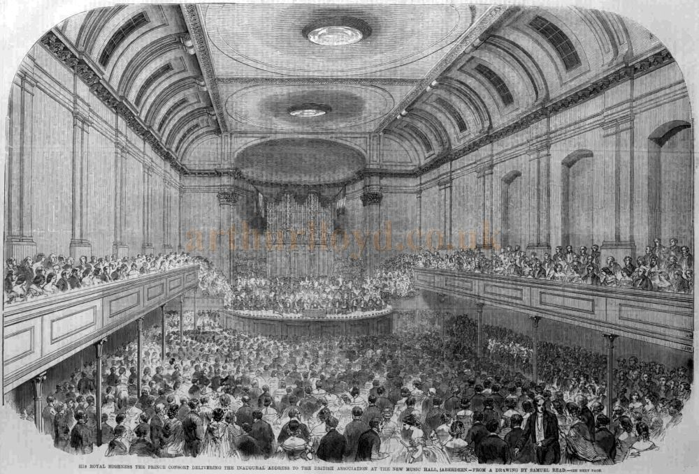 The Interior of the Aberdeen Music Hall on its opening in September 1859 - From the ILN, October 1st 1859.
