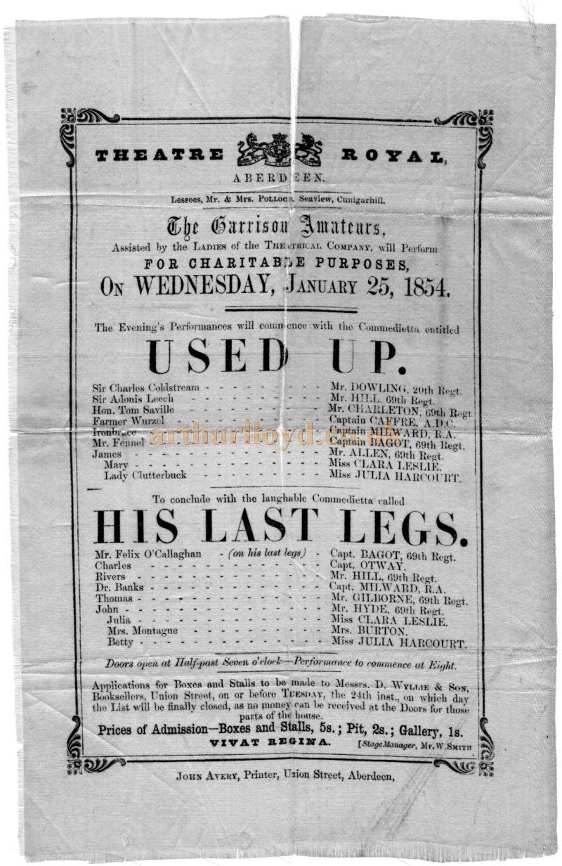 A Silk Programme for the Garrison Amateurs performing 'Used Up' and 'His Last Legs' at the Theatre Royal, Aberdeen on the 25th of January 1854 - Courtesy Michael McEwan