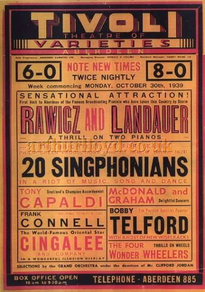 An Aberdeen Tivoli Theatre poster from 1939 - Courtesy Ross Collins.