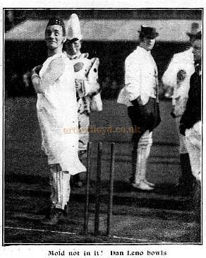 Photograph of Dan Leno playing in a celebrity cricket match. - Click to see the Feature this image originates from.