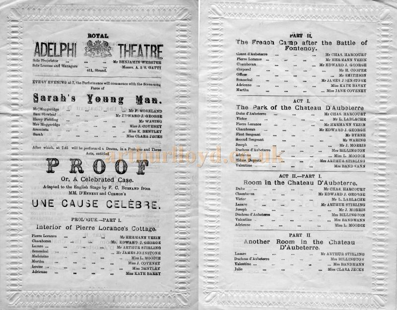 A Programme for 'Sarah's Young Man' and 'Proof' at the Adelphi Theatre probably in November 1878 - Courtesy Tim Trounce.