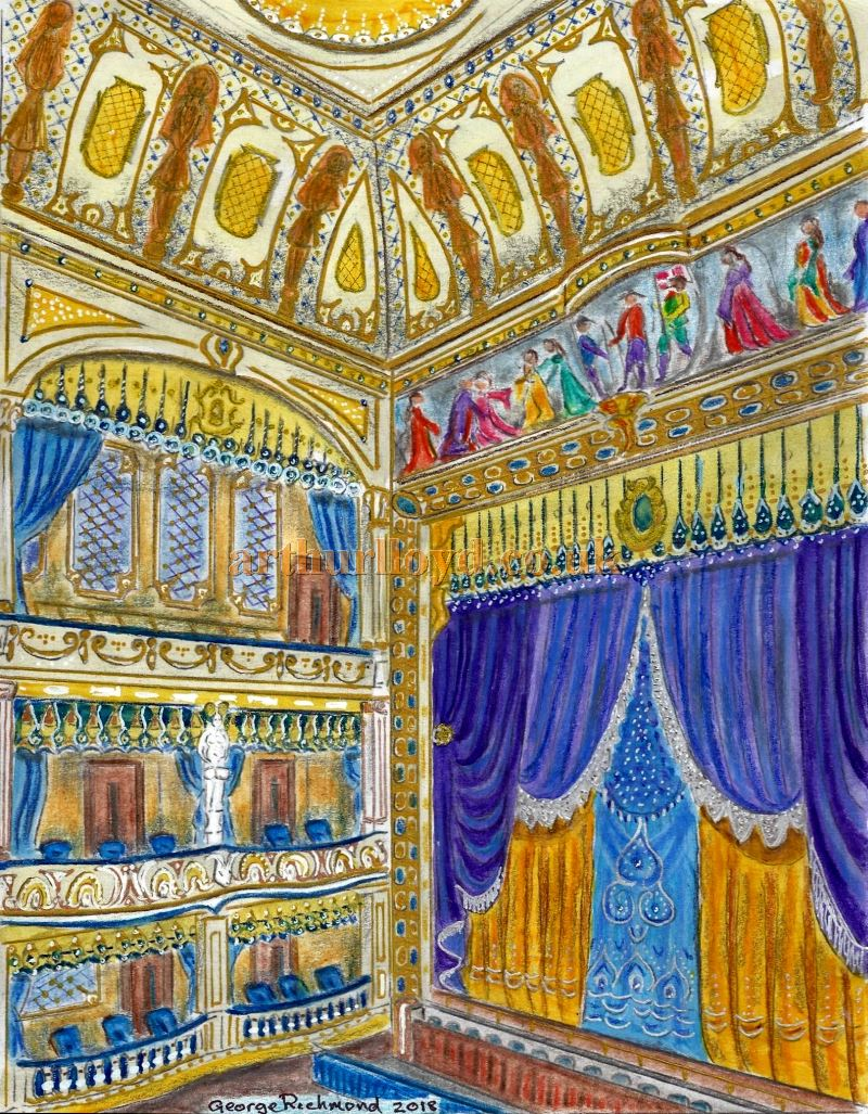 A Painting created by George Richmond in 2018 depicting the Third Adelphi Theatre in 1901 using the colour pallet mentioned in the ERA articles on this page - Click for an Index to all of George Richmond's Paintings on this site.