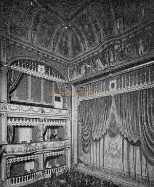The Auditorium and stage of the Century Theatre - From 'The Playgoer' 1901 - Courtesy Iain Wotherspoon.