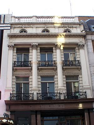 Part of the Facade of the second Adelphi Theatre is still visible above the current Crystal Rooms, originally the Adelphi Restaurant, and next door to the main entrance of the fourth and present Theatre - Photo M.L. 2006.