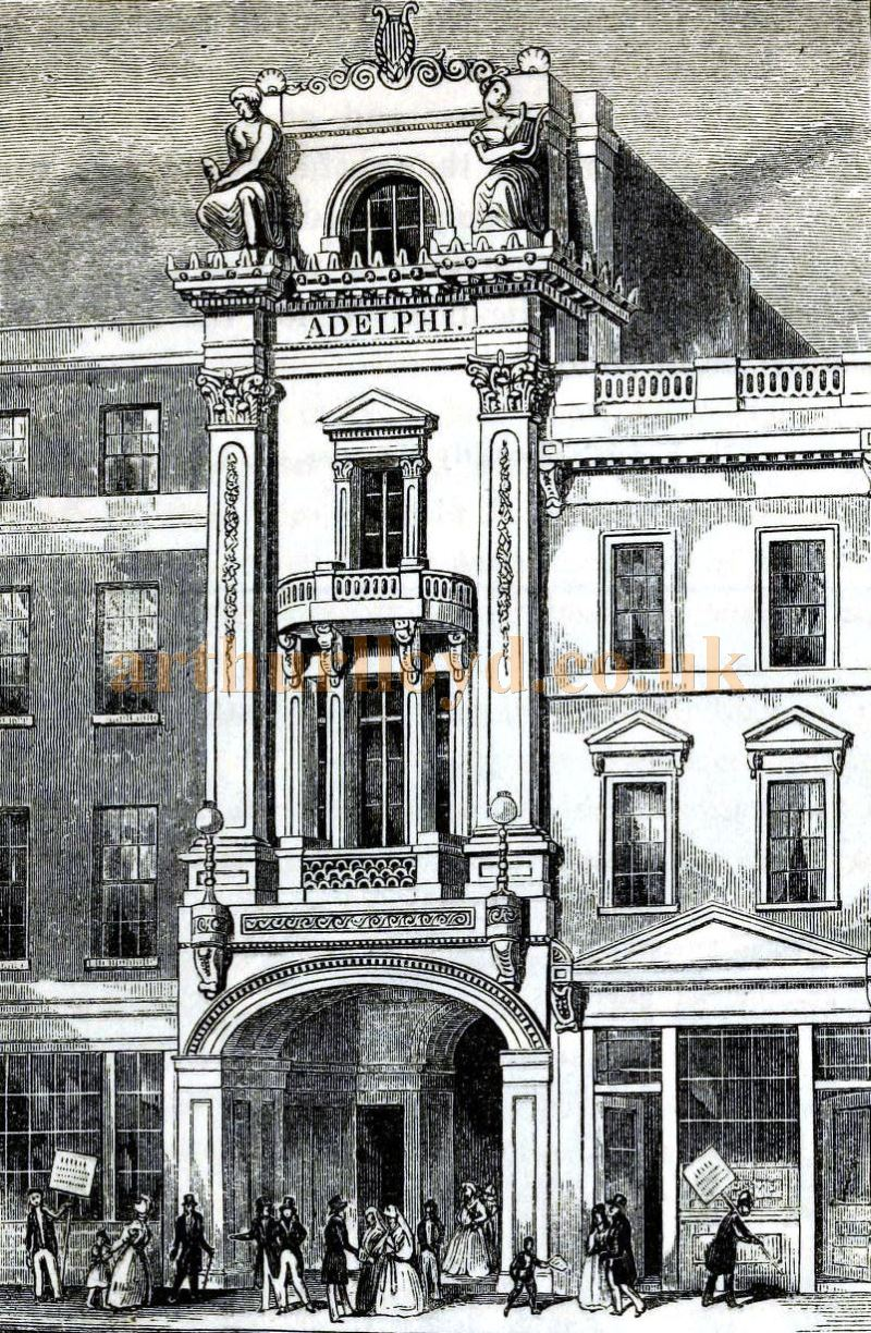 The First Adelphi Theatre, Strand - From the book 'London' Edited by Charles Knight and Published in 1843