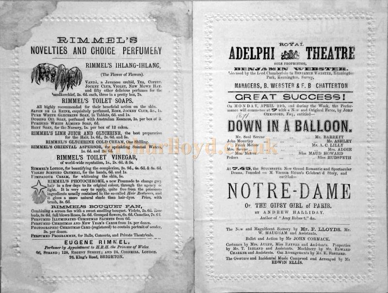 A programme for 'Down in a Baloon' and 'Notre Dame' at the second Adelphi Theatre on Monday the 24th of April 1871 - Courtesy Jennie Bisset and Brent Fernandez