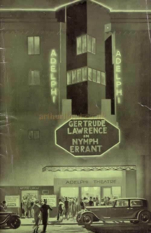 A programme for Gertrude Lawrence in 'Nymph Errant', a play with music by Cole Porter, which opened at the Adelphi Theatre in 1933.