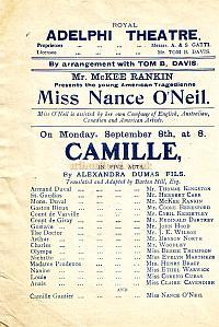 Programme for 'Camille' at the third Adelphi Theatre in the early 1900s.
