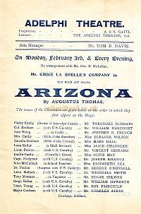 Programme for 'Arizona' at the third Adelphi Theatre in the early 1900s.