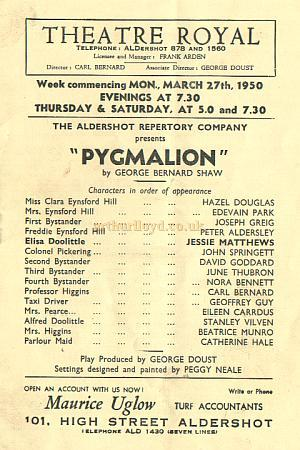 Programme for 'Pygmalion' at the Theatre Royal, Aldershot in 1950 - Courtesy Alan Chudley.