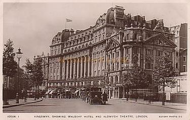 The Aldwych Theatre, Waldorf Hotel, and the Waldorf Theatre in 1912 - From a period postcard.
