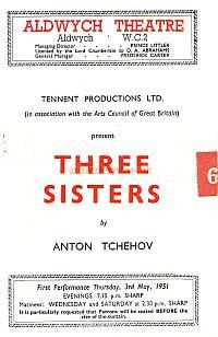 Programme for 'Three Sisters' at the Aldwych Theatre which opened on Thursday 3rd May 1951.