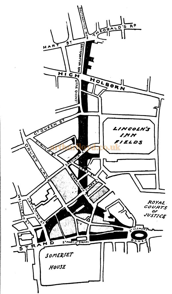 A map showing the Aldwych regeneration scheme in 1900