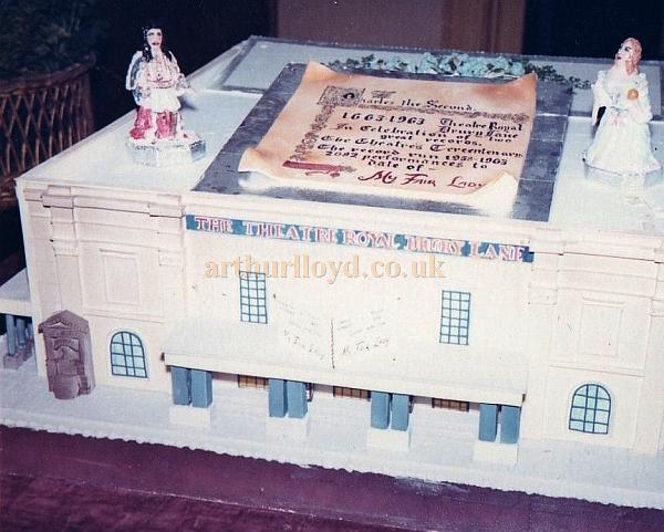 The Cake made to celebrate the Theatre's Tri-centenary year, 1963, which also celebrated the long run of 'My Fair Lady' which opened at the Theatre in 1958 and ran for 5 years. -  From the personal collection of Alec Marlow, former Master Carpenter at the Theatre Royal, Drury Lane - Courtesy Phil Davis.