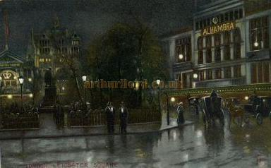 Postcard showing the Alhambra Theatre Leicester Square and also to the left the Empire Theatre.
