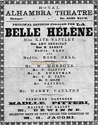 Alhambra Programme 1873 The cast has Kate Santley and Rose Bell who were to have an extraordinary falling out in 1874 while appearing at the Alhambra - Courtesy Leon A. Perdoni. - Click to see entire programme.