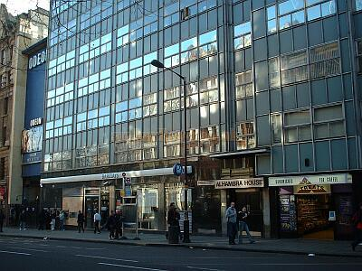 A 1960s Office Building, Alhambra House, stands where the Alhambra Theatre's charing Cross road entrance once stood. Photo M.L.