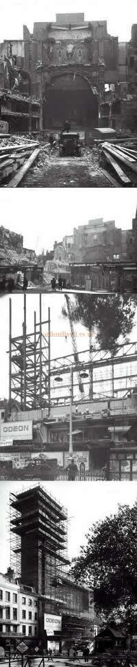 Demoltion of the Alhambra Theatre in 1936 and the Odeon Cinema's construction in 1937 - From the archives of the Cinema Theatre Association.