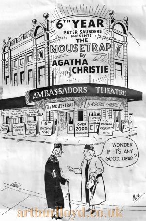 An advertisement carried in a programme for 'Simple Spyman' at the Whitehall Theatre in the 1950s shows two women outside the Ambassadors Theatre during the 6th year of 'The Moustrap' - Courtesy George Richmond.