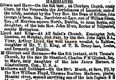 Notice from the Irish Times of 1871 on the Marriage of Arthur Lloyd and Katty King.