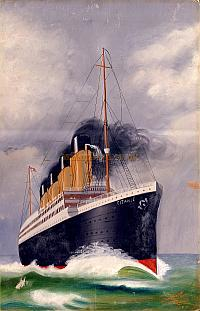 Arthur Lloyd's son, Harry Lloyd's painting of the Titanic, probably from a photograph or postcard, which he did in 1912, the year the Titanic sank.  - Click to enlarge.