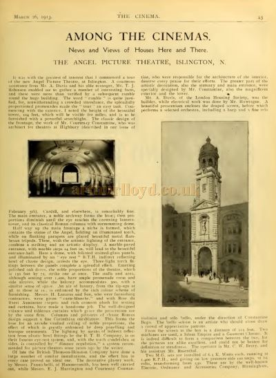 Among The Cinemas - An Article published in The Cinema News and Property Gazette, 26th of March 1913.