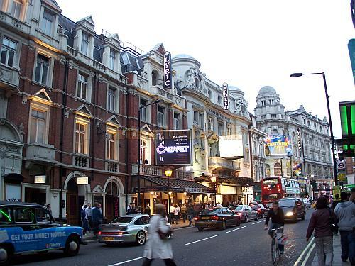 The Lyric, Apollo Gielgud, and Queens Theatres in Shaftesbury Avenue looking towards Cambridge Circus - Photo M.L. 2006 - Click for London's West End Theatres page.