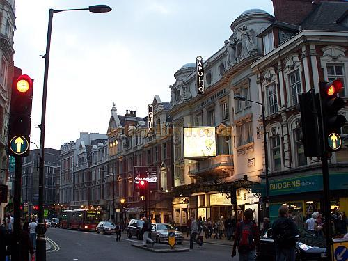 The Apollo and Lyric Theatres in Shaftesbury Avenue looking towards Piccadilly Circus - Photo M.L. 2006 - Click for London's West End Theatres page.
