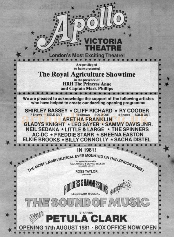 An Advertisement for the Apollo Victoria - From the Stage Newspaper, 11th December 1980.