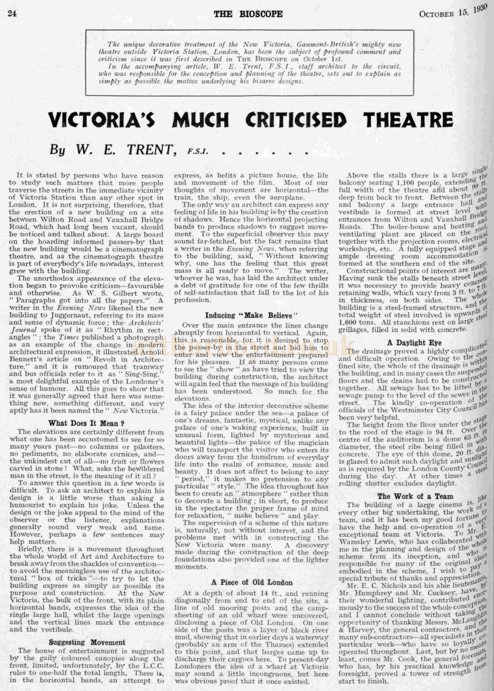 W. E. Trent explains his vision for the New Victoria Theatre - From The Bioscope, 15th of October 1930.