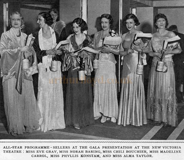 All Star Programme Sellers at the Gala Opening of the New Victoria Theatre - From The Sketch, 12th November 1930.