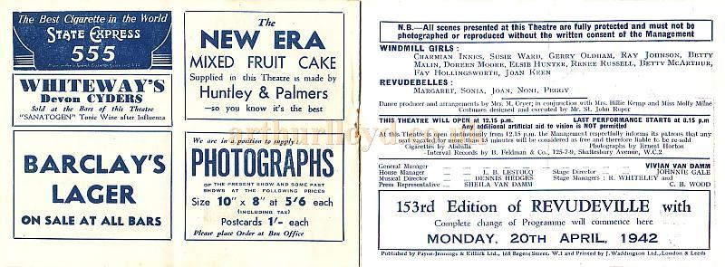Pages from the windmill theatre wartime revudeville programme 152