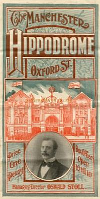A Programme for the Manchester Hippodrome in 1905 with the Arthur Lloyd Trio on the Bill. - Click for details of this Theatre.