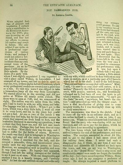 Not Bargained for - By Arthur Lloyd - From the Entr'acte Almanack, Page 38, 1876 - Very kindly sent in by Jennifer Carnell of The Sensation Press. - Click for whole article