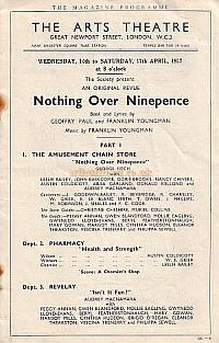 Programme for the Bank Of England Operatic, Dramatic & Orchestral Society production of 'Nothing Over Ninepence' at the Arts Theatre in April 1937.