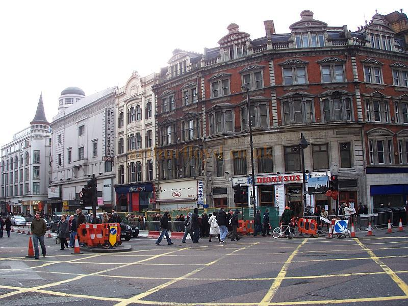 The Astoria Theatre and the rest of the block of buildings on the corner of Charing Cross Road and Oxford Street, just prior to their demolition, in January 2009 - M.L.