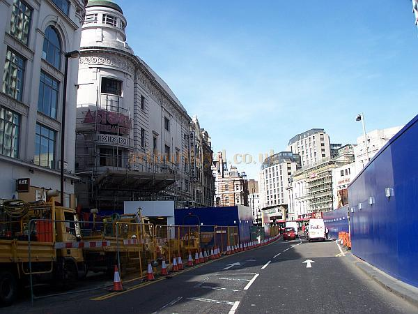 Scaffolding begins to rise around the Astoria Theatre prior to demolition in March 2009 - Photo M.L.