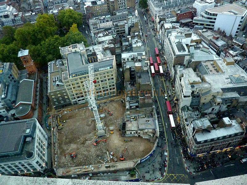 The site of the former Astoria Theatre in a photograph taken from the 32nd floor of Centrepoint in October 2009 - Photograph courtesy Andrew Woodyatt