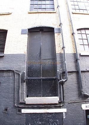 The Dock Doors of the Astoria Theatre in January 2009, these permitted access for scenery to the stage - Photo M.L.