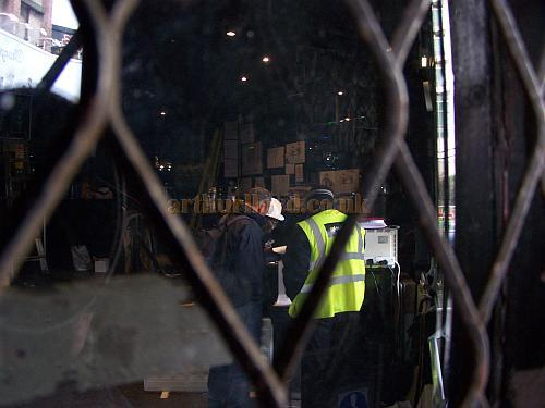 Workmen in the foyer of the Astoria Theatre preparing the building for demolition in January 2009 - Photo M.L.