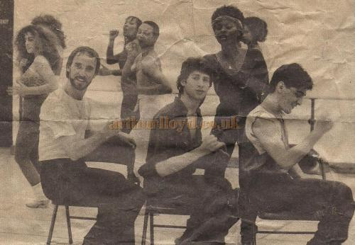 Gerry Manly (Left), Julian Wild (Centre), and Sean Kay (Right), rehearsing with other members of the cast of 'Jukebox' which opened at the Astoria Theatre in 1983 - Courtesy Julian Wild.