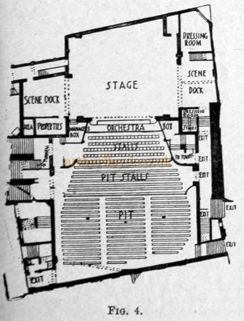 A Ground Level Plan of Frank Matcham's Grand Theatre, Islington - From 'Concert-Halls and Assembly-Rooms' by A. E. Woodrow 1895.