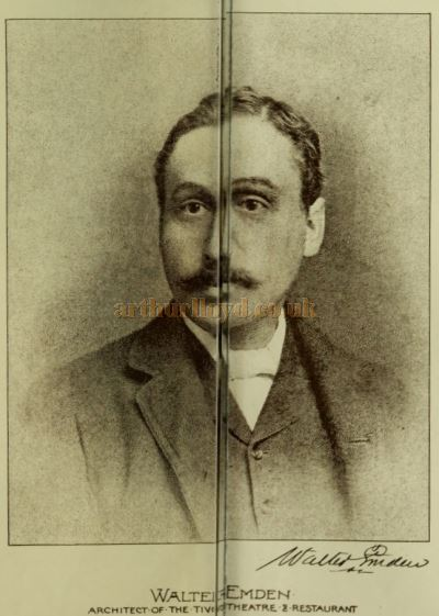 A Portrait of Walter Emden from a double page spread of Contemporary British Architects published in the Building News and Engineering Journal, June 20th 1890.